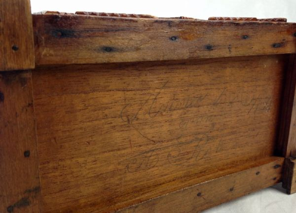 Antique Tramp / Folk Art Wooden Box Late 19th Century / Jewellery / Trinket 1898